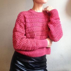 Free People Cropped Knit Open weave copper sweater